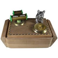Art Deco Wooden Desktop Cigarette Box with Bulldog Figure on top