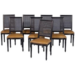 Set of Eight Custom Black Lacquered Louis Capet Cane Back Side Chairs