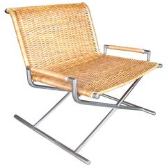 Ward Bennett Sled Lounge Chair, Chrome-Plated, Wicker, Rattan