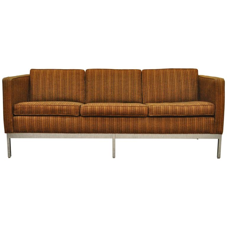 Mid Century Modern Chrome Frame Case Sofa By Patrician After Milo Baughman  For Sale