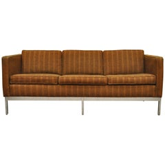 Mid Century Modern Chrome Frame Brown Case Sofa by Patrician after Milo Baughman