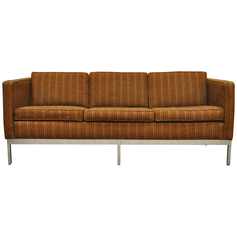 Mid Century Modern Chrome Frame Brown Case Sofa by Patrician after Milo Baughman For Sale