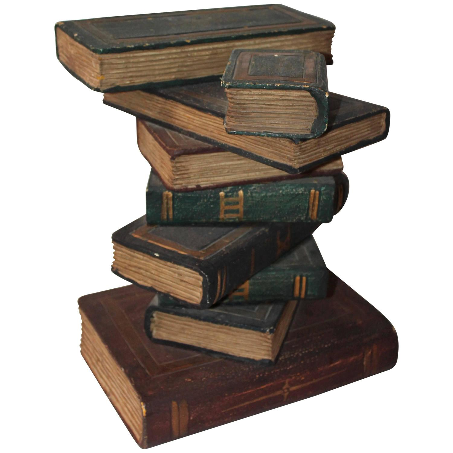 Wood Stacking Tables ~ Stack of wood books side table at stdibs
