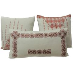 Set of Three Greek Isle Embroidered 19th Century Pillows