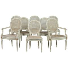 Set of Eight Painted Louis XVI Cane Dining Chairs