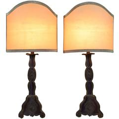 Sicilian Painted Tole Candlesticks Mounted as Table Lamps Pair 18th-19th Century