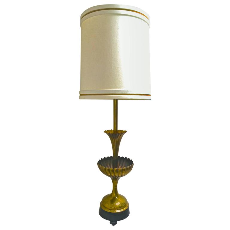 vintage monumental tiered table lamp in hammered brass by marbro for. Black Bedroom Furniture Sets. Home Design Ideas