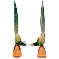 Large Matched Pair of Vintage Murano Glass Pheasant Birds