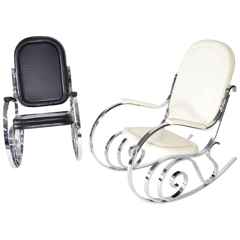 Pair or Individual Maison Jansen Polished Nickel Rocking Chairs, France, 1970