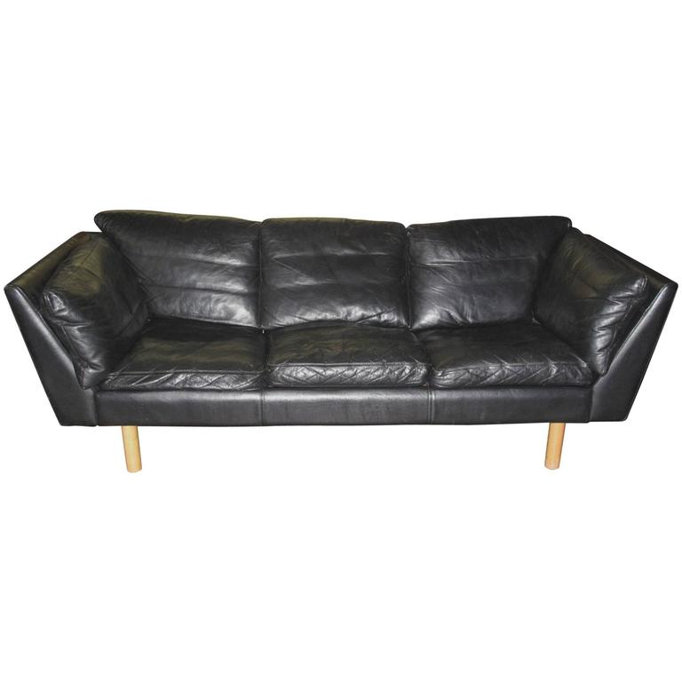 Danish 1970s Early 1980s Black Leather Sofa By Henning Jensen For