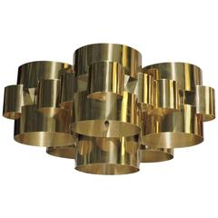 Brass Cloud Chandelier by Curtis Jere, 1976