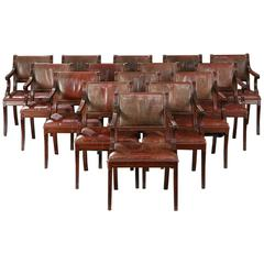 Large Set of 12 Regency-Style Armchairs