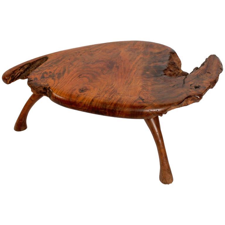 Mid Century Walnut Live Edge Coffee Table: Mid-Century Sculpted Walnut Live Edge Burl Coffee Table At