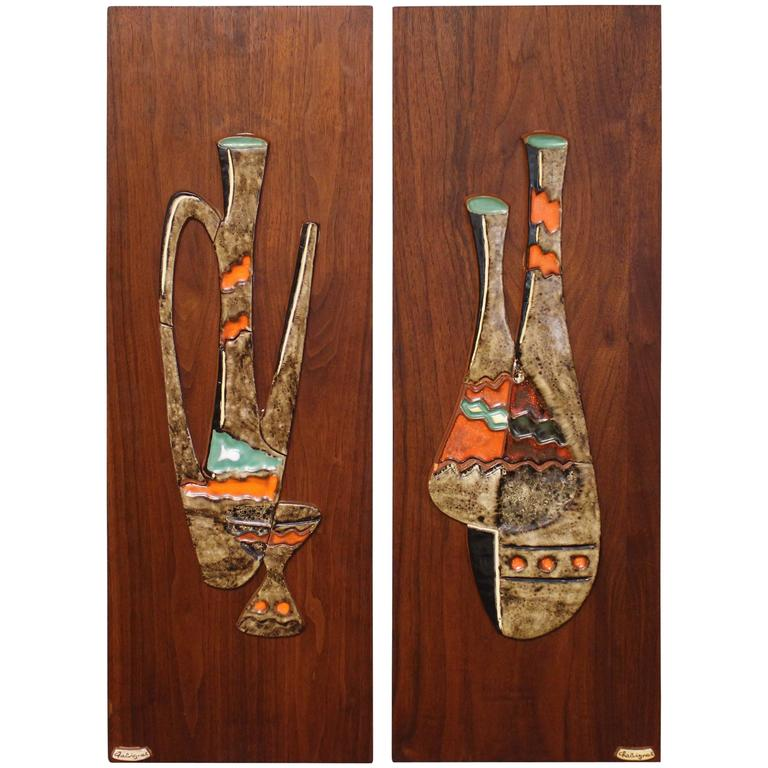 Maurice Chalvignac Art Pottery and Teak Wall Plaques at 1stdibs