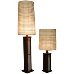 Mid-Century Modern Rosewood and Ceramic Matching Floor and Table Lamp