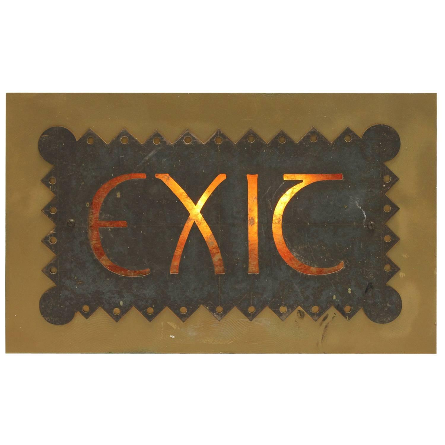 Light Up Theater: Antique American Light Up Theater Exit Sign At 1stdibs