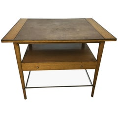 Paul McCobb Leather Topped Lamp Table with Glass Shelf