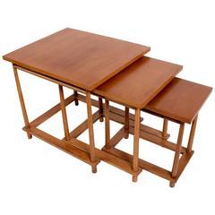 Set of Three 1950s Walnut Nesting Tables by T.H. Robsjohn-Gibbings for Widdicomb