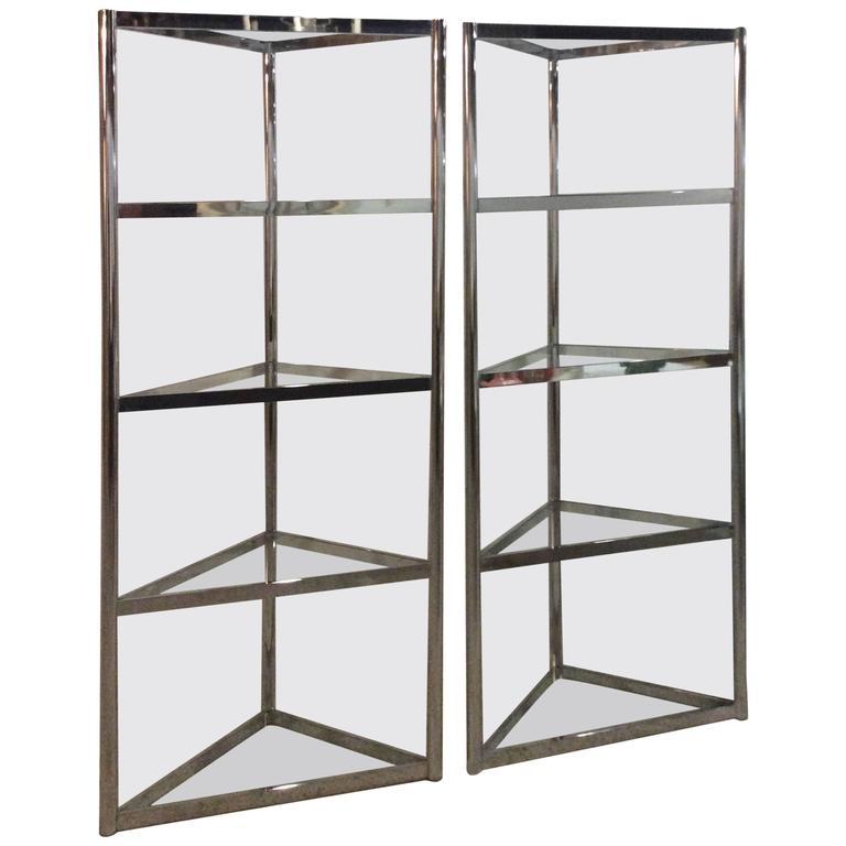 Milo Baughman Vintage Pair of Chrome Etageres Shelves Corner Triangle Display