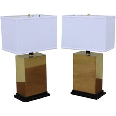 1970s Modern Brass Table Lamps