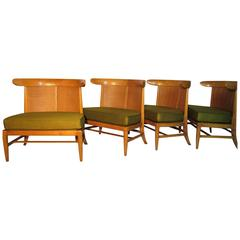 Four Mid-Century Tomlinson Sophisticate Caned Walnut Slipper Chairs, circa 1956