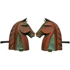 Equestrian Horse Head Andirons in Cast Bronze by Reynolds Jones