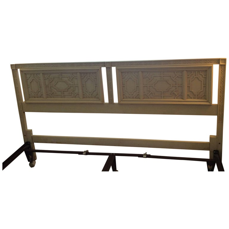 Thomasville Headboard Vintage King-Size Fretwork Chinese Chippendale Bed For Sale
