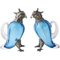 Sterling Silver & Art Glass Figural Bird Oil and Vinegar