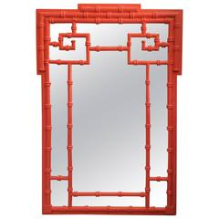 Greek Key Vintage Newly Lacquered Orange  Faux Bamboo Wall Mirror Chinoiserie
