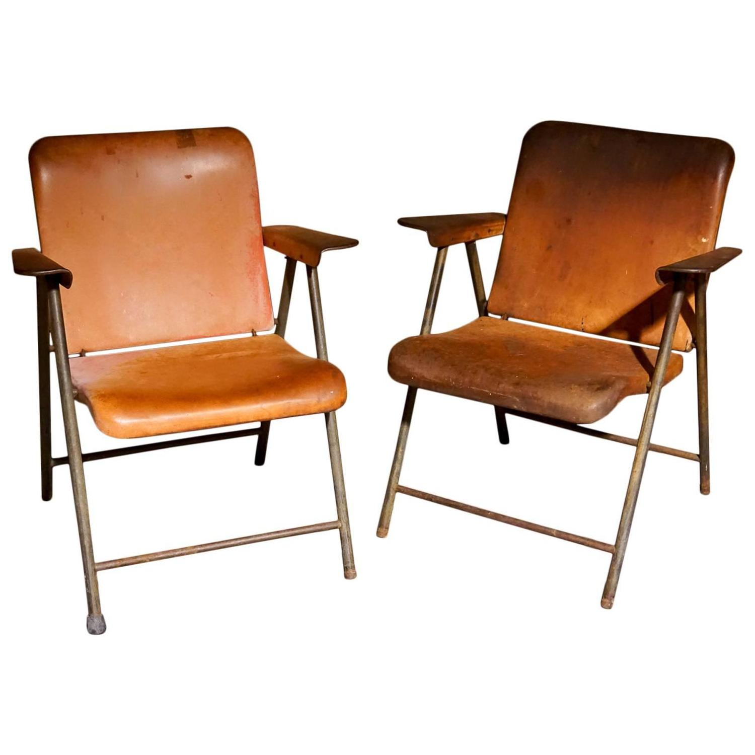 Pair of Mid Century Garden Chairs For Sale at 1stdibs