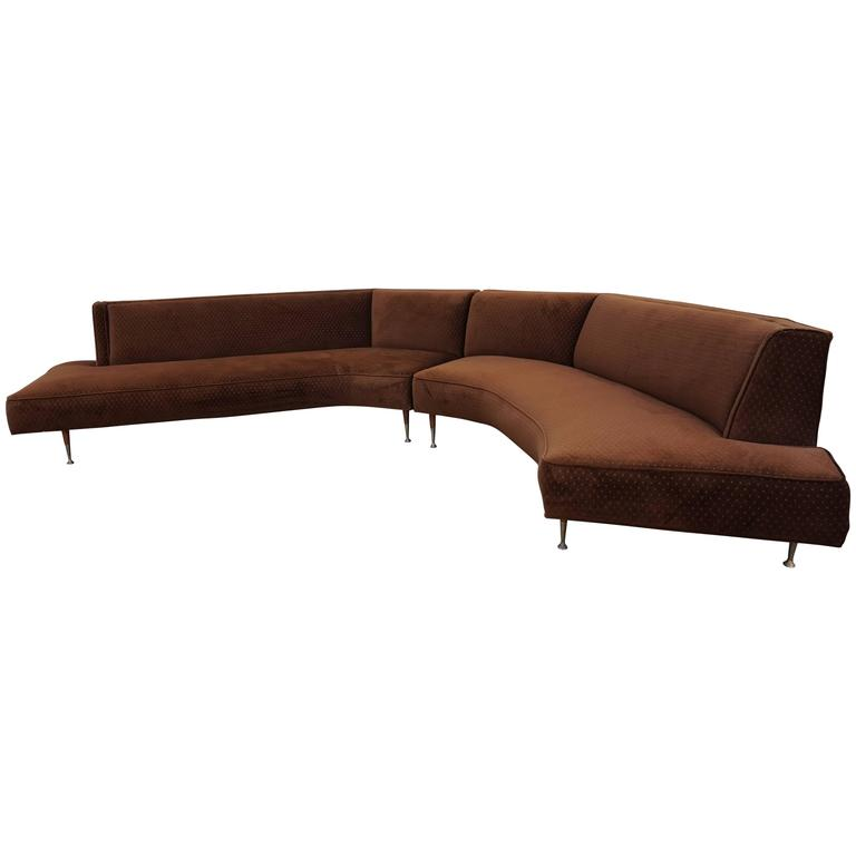 Gorgeous Harvey Probber Style Two-Piece Curved Sofa Sectional Mid-Century Modern