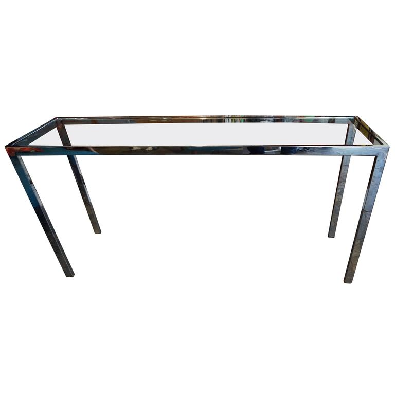 Sleek Milo Baughman Chrome And Glass Console Table, Mid Century Modern For  Sale