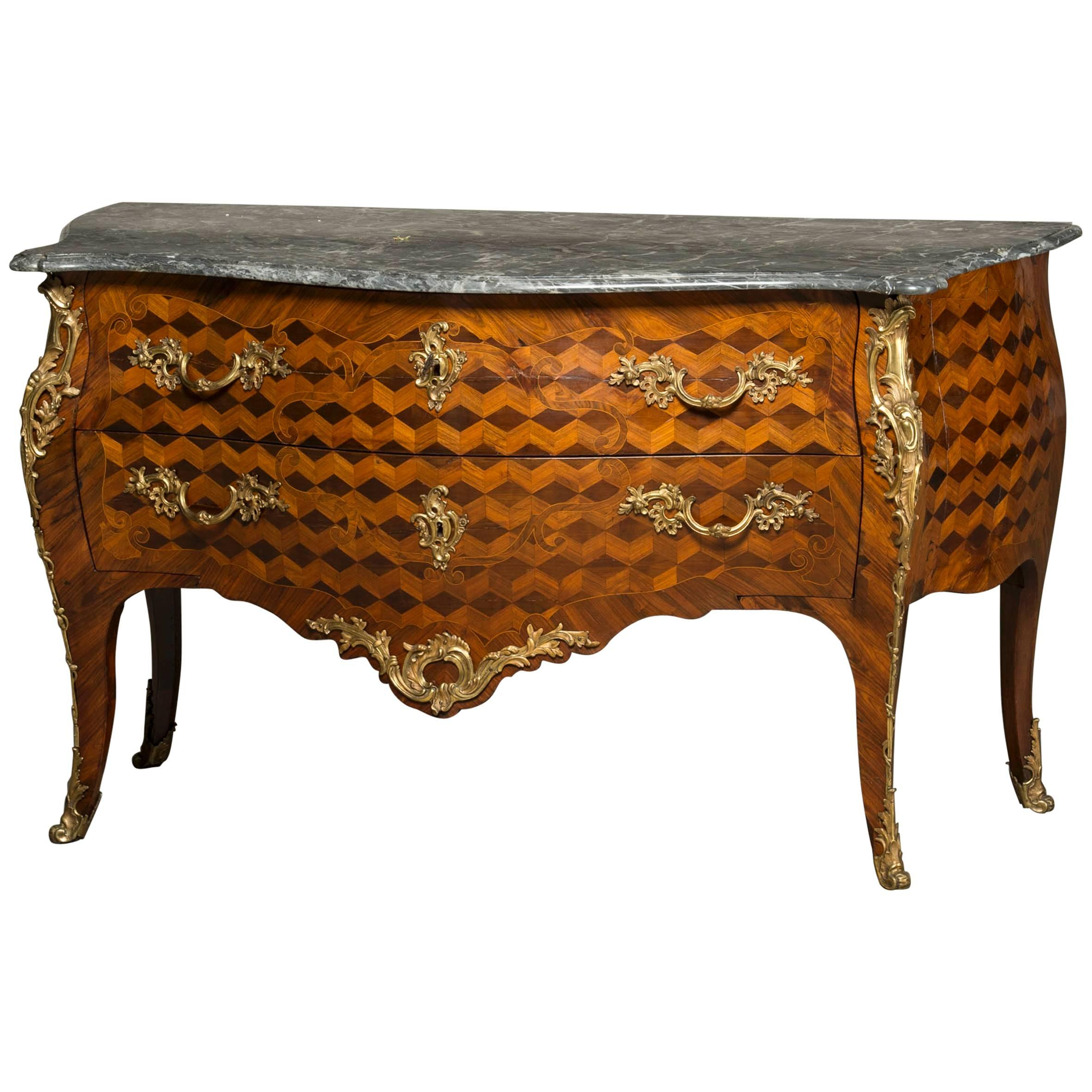 Large Decorative Louis XV Chest of Drawers, Mid-18th Century