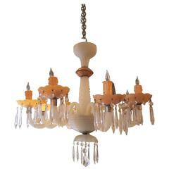 1940s Italian Murano Pink and White Handblown Milk Glass Eight-Arm Chandelier