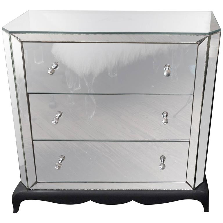 1940s French Mirrored Dresser with Pie Crust Edges and Ebony Base