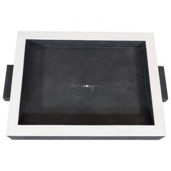 Onyx Shagreen Tray with Bone Trim