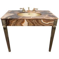 Sienna Marble Vintage Bathroom Vanity with Gold Glitter Sink by Sherle Wagner
