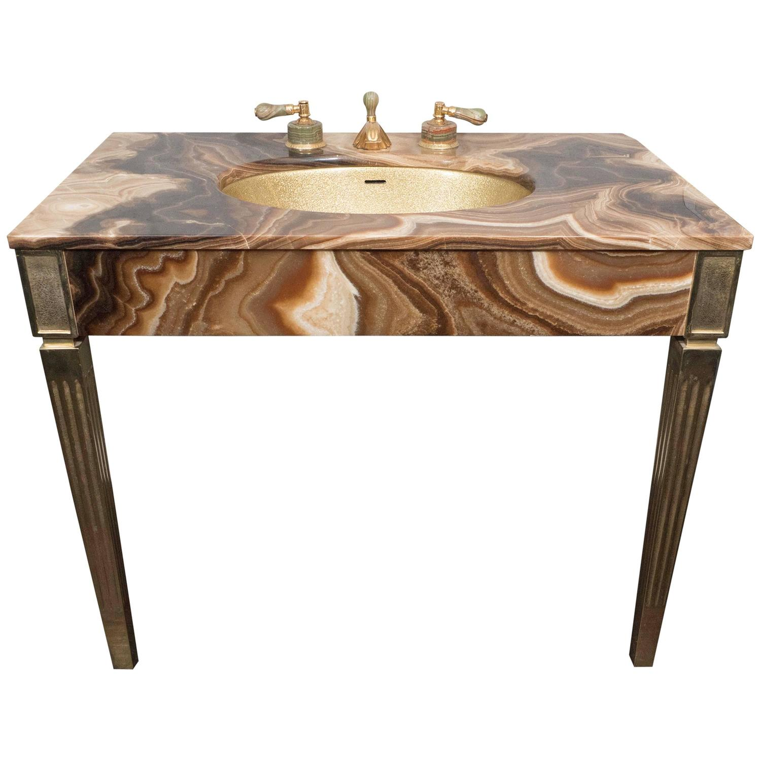 Sienna Marble Vintage Bathroom Vanity With Gold Glitter Sink By Sherle Wagner For Sale At 1stdibs