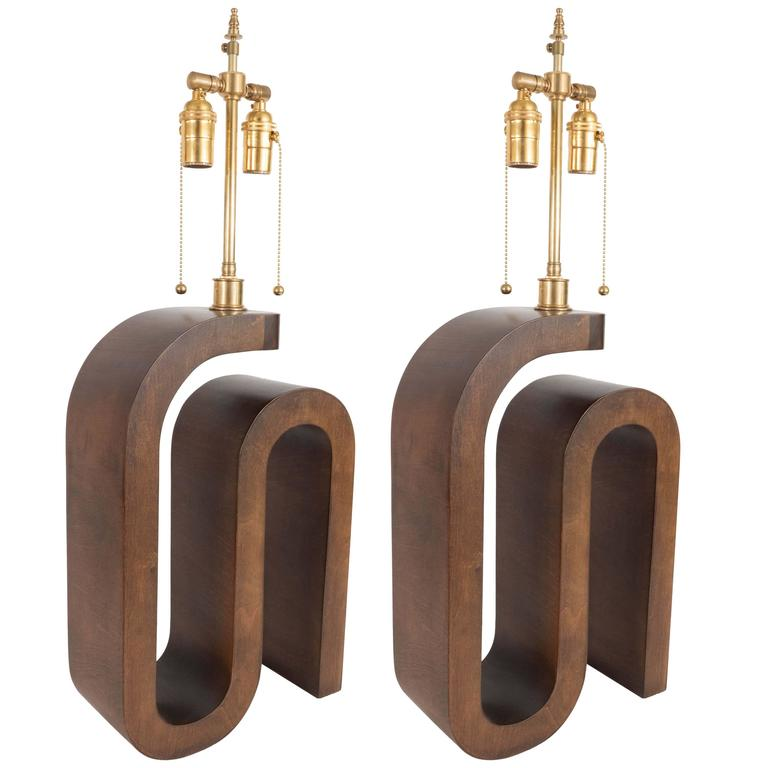Pair of Curvilinear Wood Table Lamps For Sale