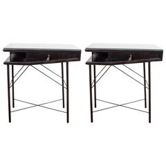 Pair of Lacquered Wood Single-Drawer End Tables