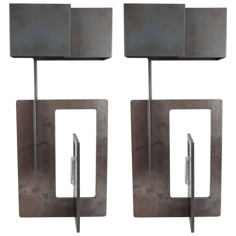 Pair of Patinated Iron Lamps For Sale