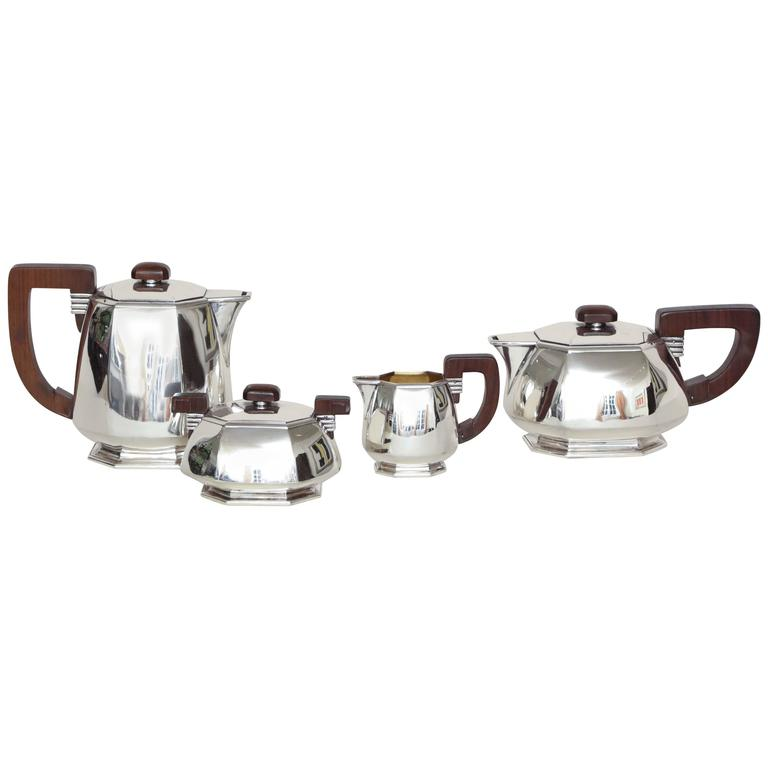 Jean E. Puiforcat French Art Deco Tea and Coffee Sterling Silver Service For Sale