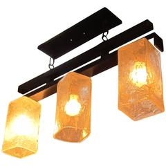 2006 Mid-Century Modern Handblown Glass Triple Flush Mount Light Fixture