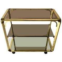 Brass Bar Cart With Smoked Glass Shelves and Mirrored Bottom