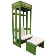 Modern Telephone Booth Lounge Chair and Ottoman