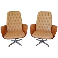 Bentwood and Leather Swivel Chairs by Mulhauser for Plycraft
