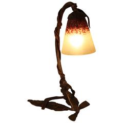 Bronze Art Nouveau Table Lamp with Charles Schneider Glass Shade