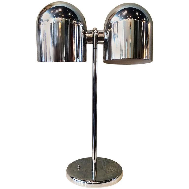 Mid Century Modern Double Headed Chrome Desk Lamp By Sonneman For