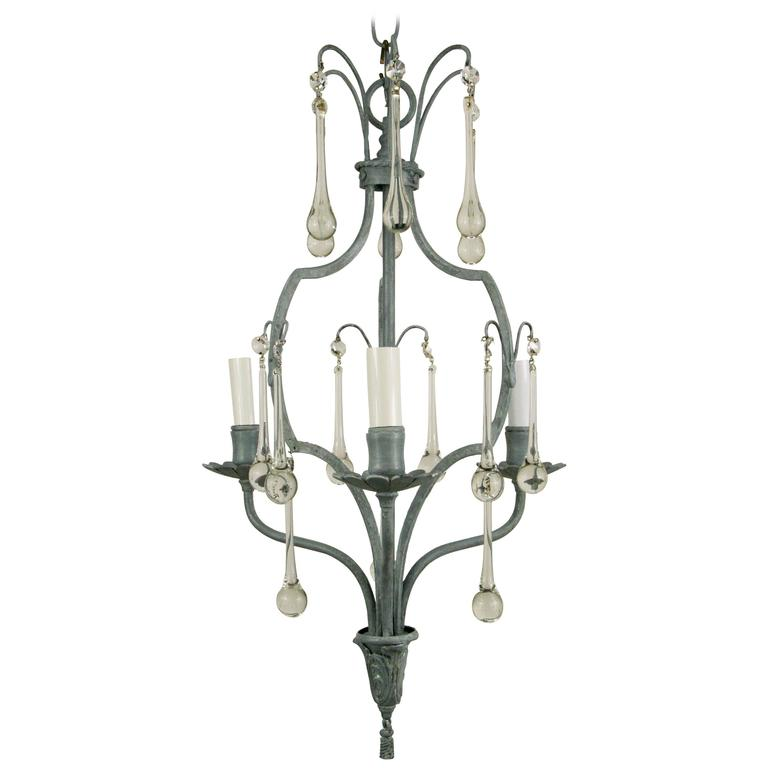French Gray Crystal Drop Chandelier For Sale