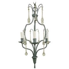French Gray Crystal Drop Chandelier